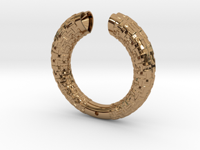 Two Section Textured Bracelet in Polished Brass