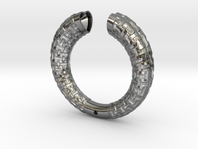 Two Section Textured Bracelet in Polished Silver