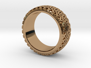 Tire ring band size 13 in Polished Brass