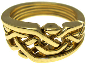 Weave Five in interlocking metal in Interlocking Polished Brass