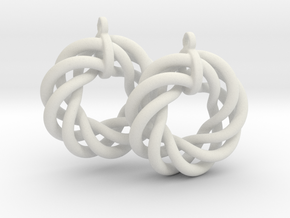 Torus Flower Earrings in White Natural Versatile Plastic