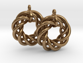 Torus Flower Earrings in Natural Brass
