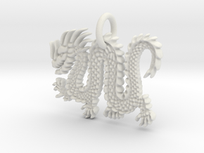 Chinese Dragon Pendant in White Natural Versatile Plastic