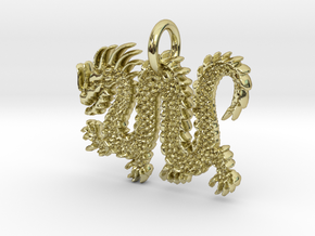 Chinese Dragon Pendant in 18k Gold Plated Brass