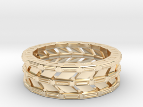 Triple Band Ring in 14k Gold Plated Brass: Extra Large