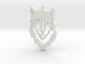 Wolf Pendant in White Natural Versatile Plastic
