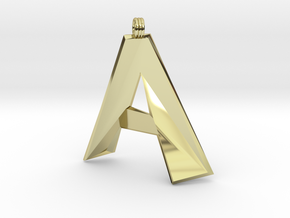Distorted Letter A in 18k Gold Plated Brass