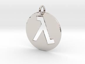 Half Life Pendant/Keychain in Rhodium Plated Brass