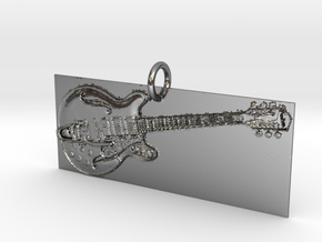Electric Guitar Pendant in Polished Silver