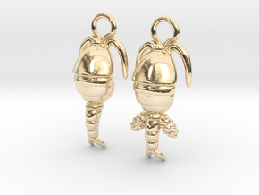 Copepod Earrings - Science Jewelry in 14k Gold Plated Brass