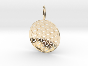 Flower Of Life Pendant Cosmic Jewelry in 14K Yellow Gold