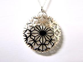 Dandelion seeds pendant(32mm) in Polished Silver