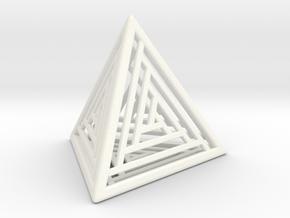 Tetrahedron Lattice in White Processed Versatile Plastic