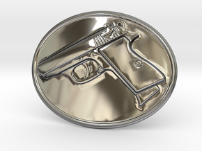 PPK GUN Beltbuckle in Fine Detail Polished Silver