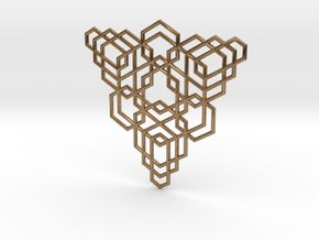 Hex Fractal Pendant in Natural Brass