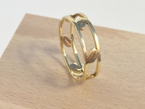 Unique Link Ring  in Polished Brass