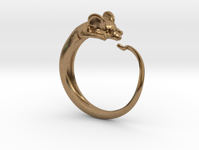 Mouse ring multi-size in Natural Brass