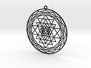 Complete Sri Yantra Pendant in Black Strong & Flexible