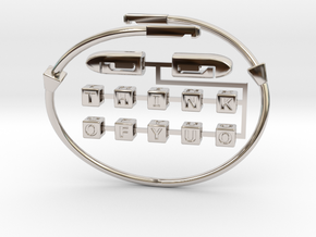 """Bracelet """"Think Of You"""" rotate the letters. in Rhodium Plated Brass"""