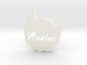 Austin Beard Pendent in White Processed Versatile Plastic: Small