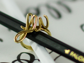 Bespoke Initials Ring  in Polished Brass