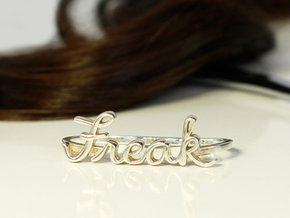 Freak Script Ring (2-Finger) in Polished Brass: 6 / 51.5