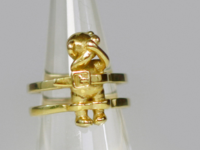 Teddy Bear Ring (Tied Up) in Polished Brass: 6 / 51.5
