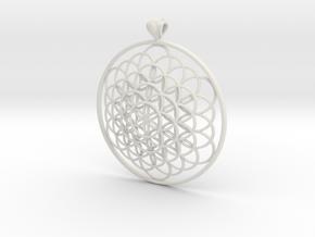 Flower Of Life Pendant 6cm Fancy Loopet in White Natural Versatile Plastic