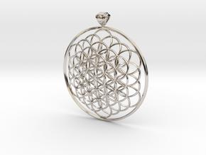 Flower Of Life Pendant 6cm Fancy Loopet in Platinum