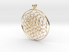 Flower Of Life Pendant 6cm Fancy Loopet in 14k Gold Plated Brass
