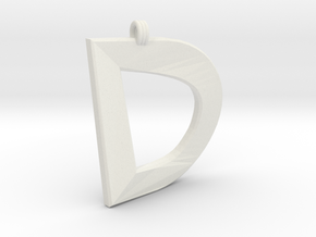 Distorted Letter D in White Natural Versatile Plastic