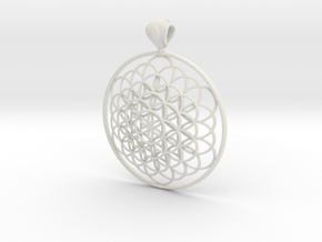 Flower Of Life Pendant 6cm Fancy Big Loopet in White Natural Versatile Plastic