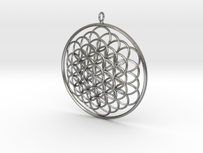 Flower Of Life Pendant - w Loopet - 6cm in Natural Silver