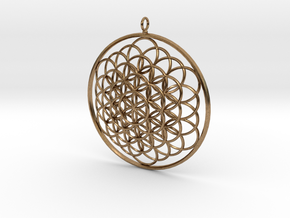 Flower Of Life Pendant - w Loopet - 6cm in Natural Brass