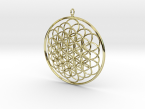 Flower Of Life Pendant - w Loopet - 6cm in 18K Gold Plated