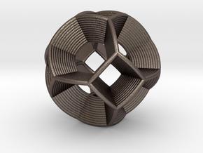 0412 Spherical Truncated Octahedron (d=6cm) #004 in Polished Bronzed Silver Steel