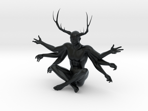 "3"" Six Armed Stag in Black Hi-Def Acrylate"