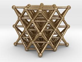 64 Tetrahedron Grid - Isotropic Vector Matrix in Polished Gold Steel