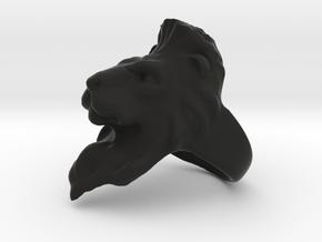 Lion Ring 21.32mm (size 12) in Black Natural Versatile Plastic