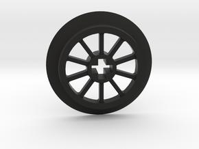 Medium Small Thin Train Wheel in Black Natural Versatile Plastic