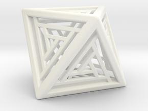 Octahedron Lattice in White Processed Versatile Plastic