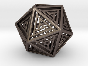 Icosahedron Lattice in Polished Bronzed Silver Steel