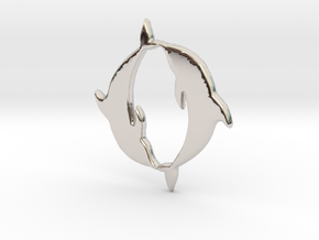 Dolphin Pendant in Rhodium Plated