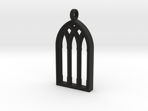 Castle Window Block Pendant in Black Natural Versatile Plastic