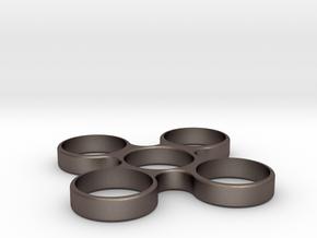 Quad Fidget Spinner in Polished Bronzed Silver Steel
