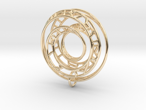 Single Strand Spiral Voronoi Interlocking Pendant in 14K Yellow Gold