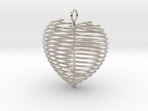 Coiled Heart with Bail in Platinum: Small