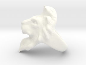 Lion Ring 18.29mm (size 8) in White Processed Versatile Plastic