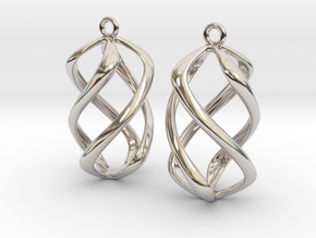 Twisty Earrings in Precious Metals in Rhodium Plated Brass