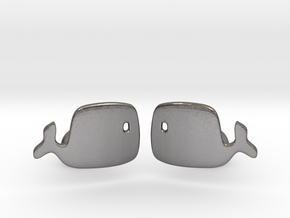 Whale Cufflinks in Polished Nickel Steel